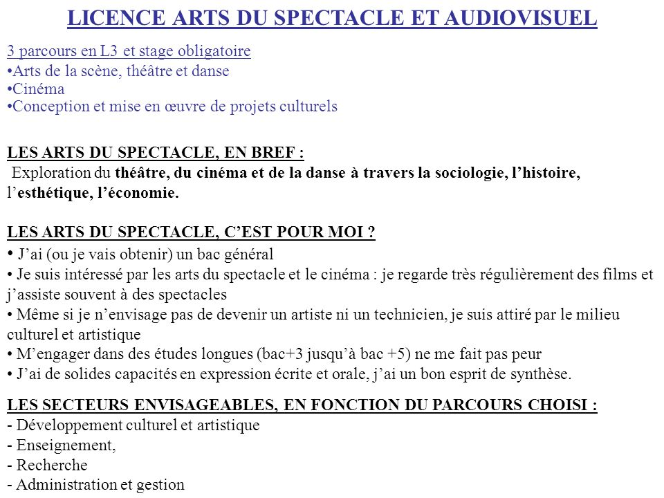 LICENCE ARTS DU SPECTACLE ET AUDIOVISUEL