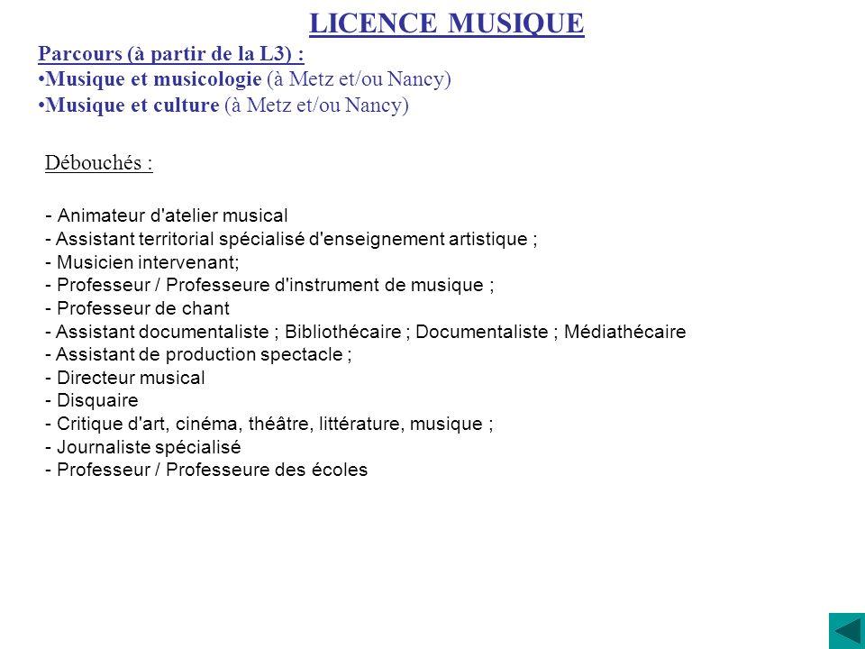 LICENCE MUSIQUE Parcours (à partir de la L3) :