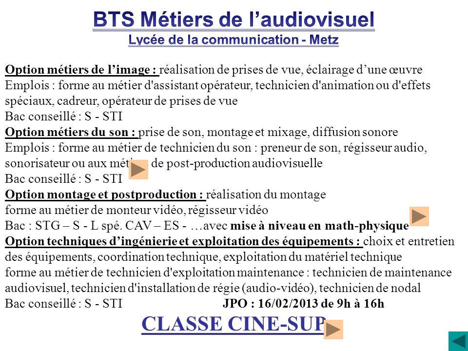 BTS Métiers de l'audiovisuel Lycée de la communication - Metz
