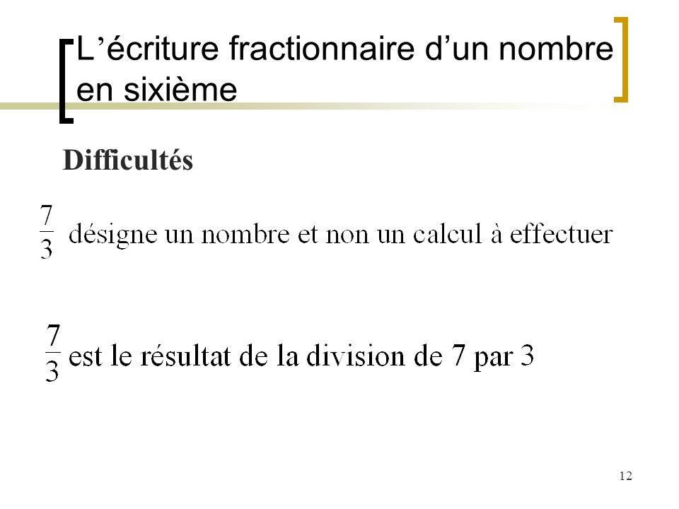 L'écriture fractionnaire d'un nombre en sixième