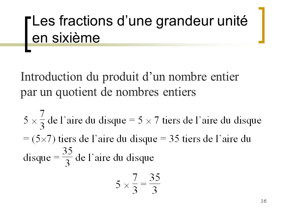Les fractions d'une grandeur unité en sixième