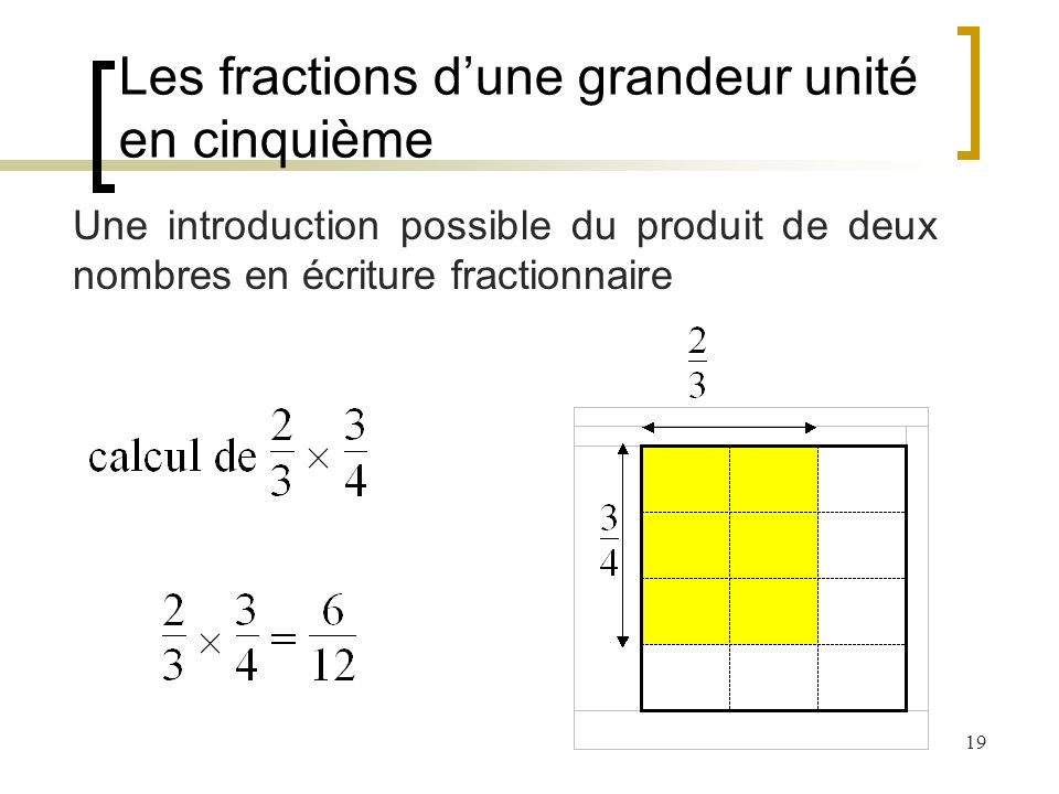 Les fractions d'une grandeur unité en cinquième