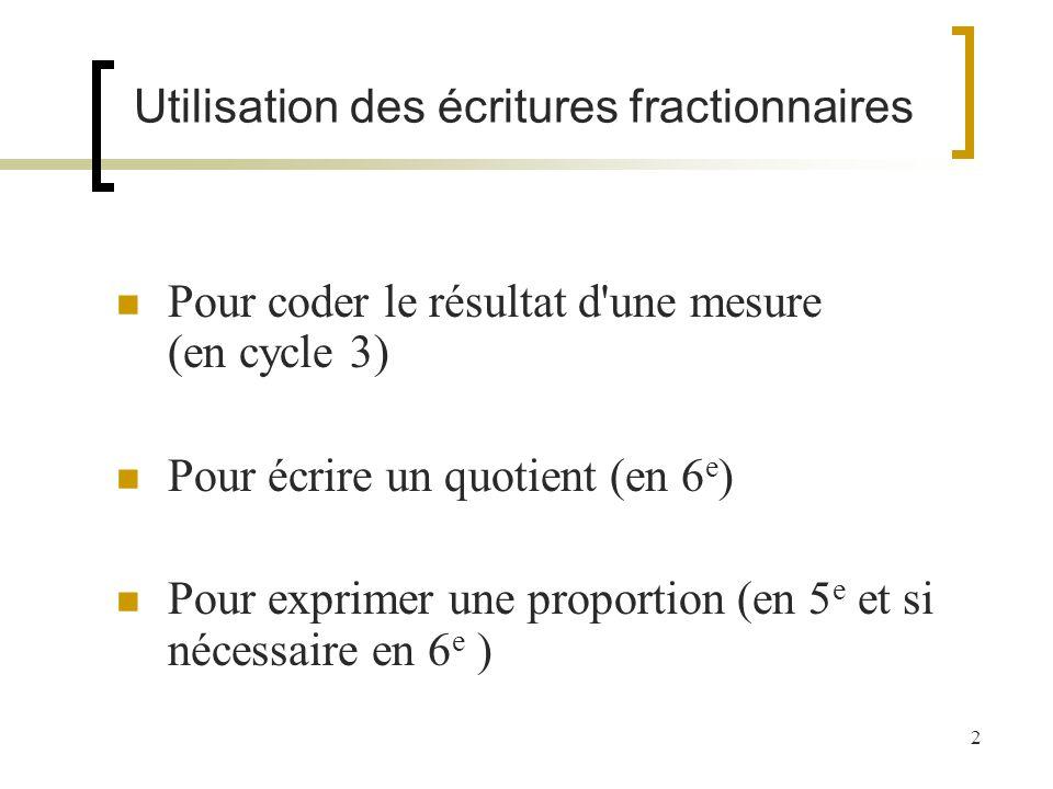 Utilisation des écritures fractionnaires