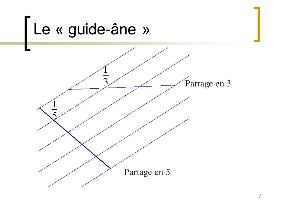 Le « guide-âne » Partage en 3 Partage en 5