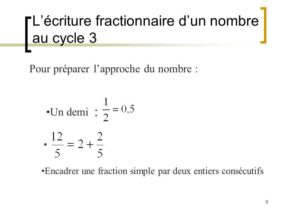 L'écriture fractionnaire d'un nombre au cycle 3