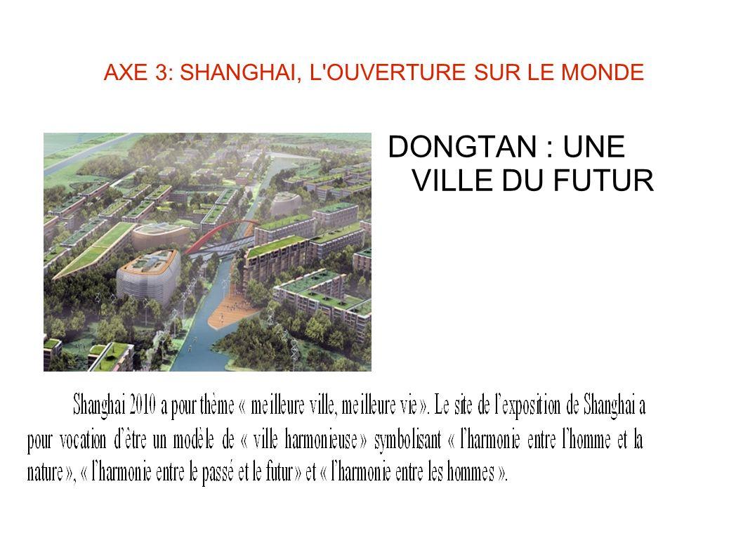 AXE 3: SHANGHAI, L OUVERTURE SUR LE MONDE