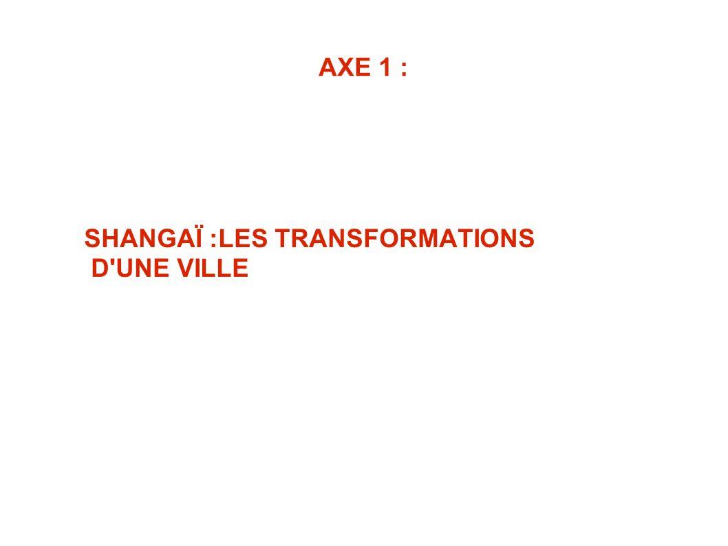 SHANGAÏ :LES TRANSFORMATIONS D UNE VILLE