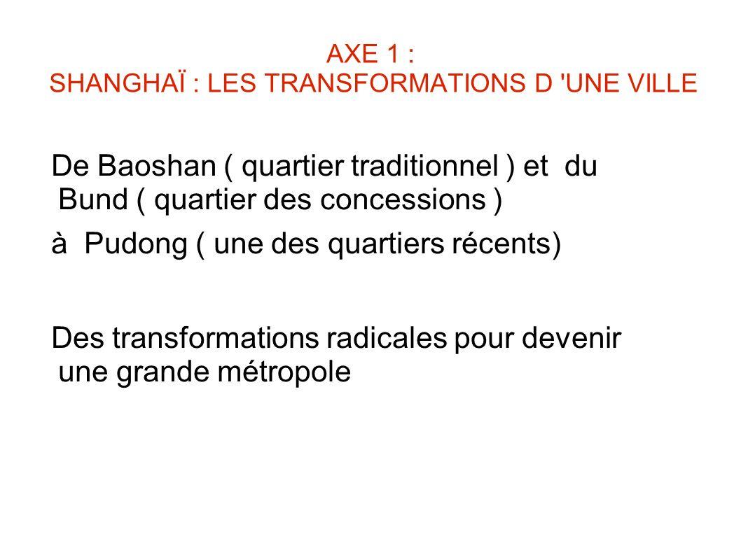 AXE 1 : SHANGHAÏ : LES TRANSFORMATIONS D UNE VILLE