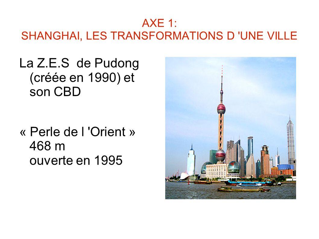 AXE 1: SHANGHAI, LES TRANSFORMATIONS D UNE VILLE