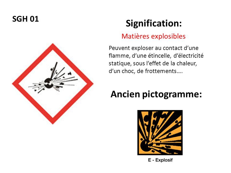 Signification: Ancien pictogramme: SGH 01 Matières explosibles