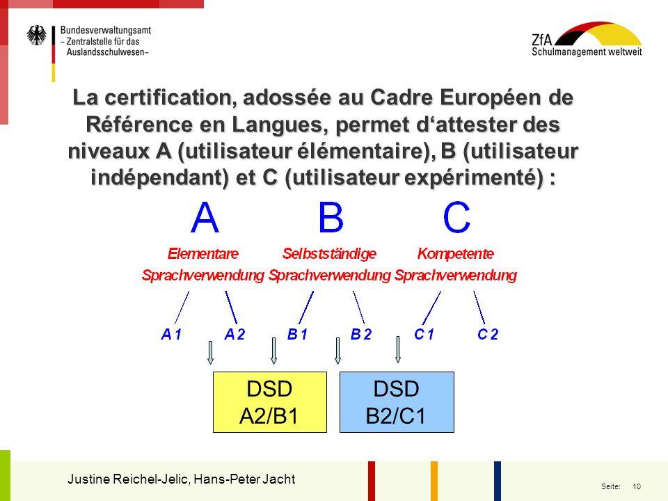 La certification, adossée au Cadre Européen de Référence en Langues, permet d'attester des niveaux A (utilisateur élémentaire), B (utilisateur indépendant) et C (utilisateur expérimenté) :