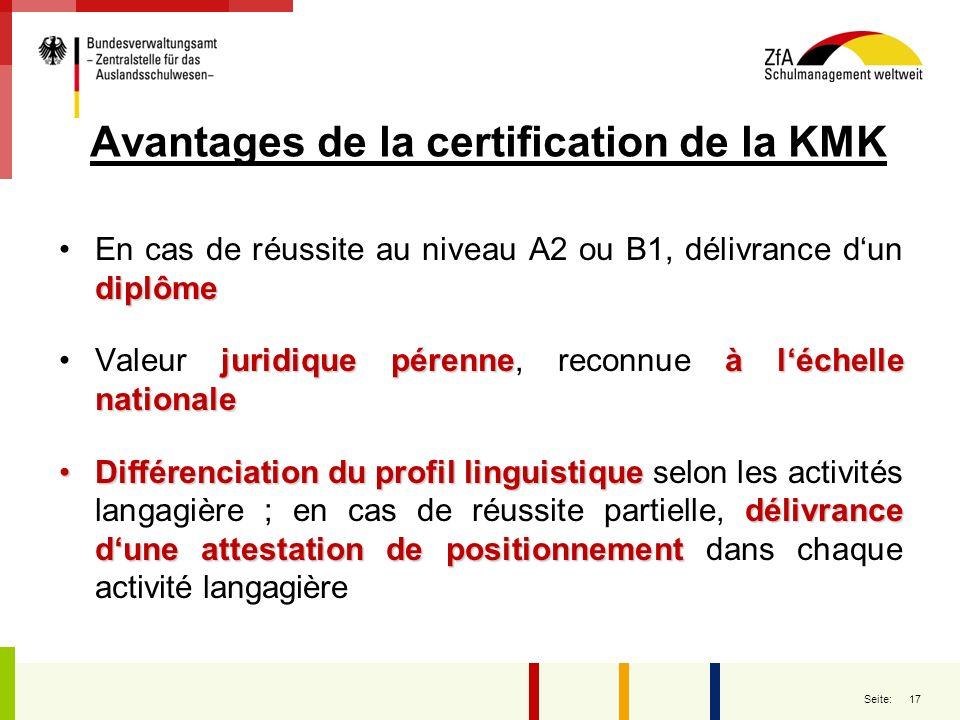 Avantages de la certification de la KMK