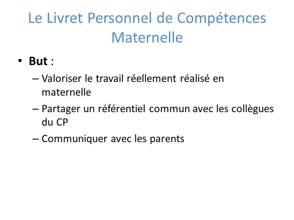 Le Livret Personnel de Compétences Maternelle