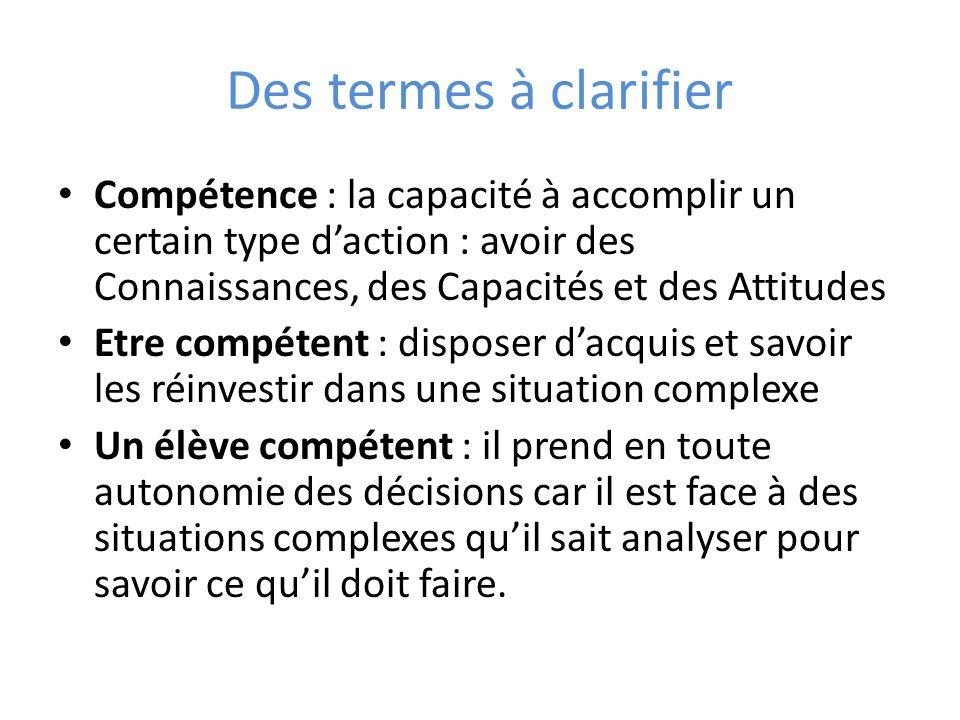 Des termes à clarifier Compétence : la capacité à accomplir un certain type d'action : avoir des Connaissances, des Capacités et des Attitudes.