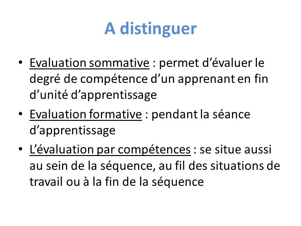 A distinguer Evaluation sommative : permet d'évaluer le degré de compétence d'un apprenant en fin d'unité d'apprentissage.
