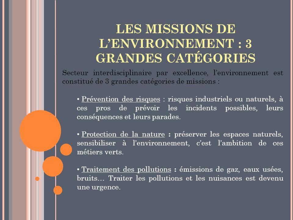 LES MISSIONS DE L'ENVIRONNEMENT : 3 GRANDES CATÉGORIES