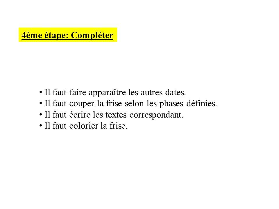 4ème étape: Compléter Il faut faire apparaître les autres dates. Il faut couper la frise selon les phases définies.