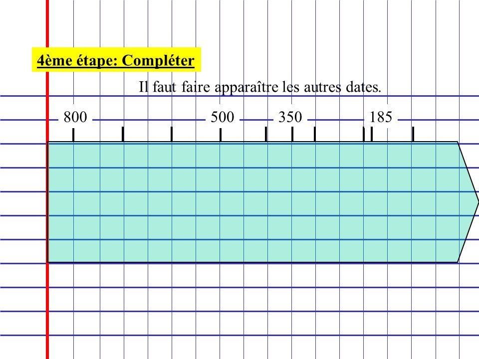 4ème étape: Compléter Il faut faire apparaître les autres dates. 800 500 350 185