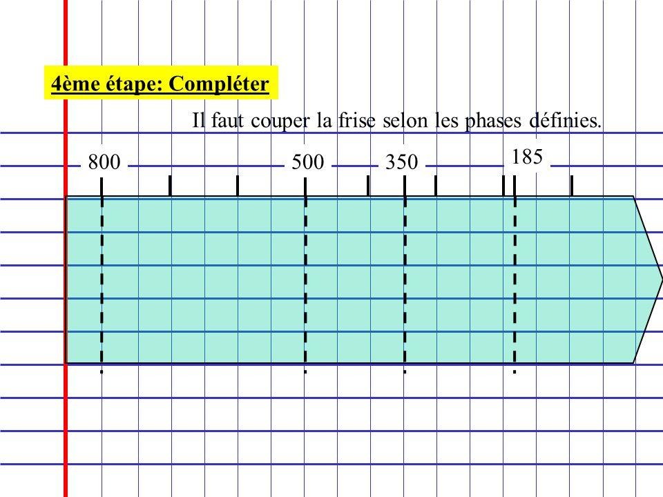 4ème étape: Compléter Il faut couper la frise selon les phases définies. 185 800 500 350