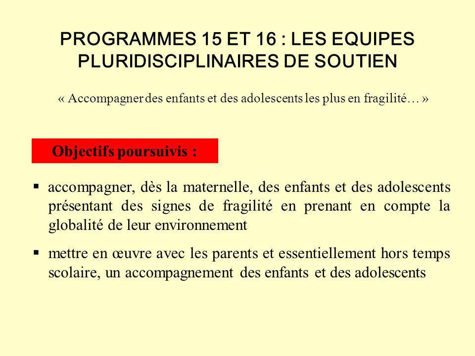 PROGRAMMES 15 ET 16 : LES EQUIPES PLURIDISCIPLINAIRES DE SOUTIEN
