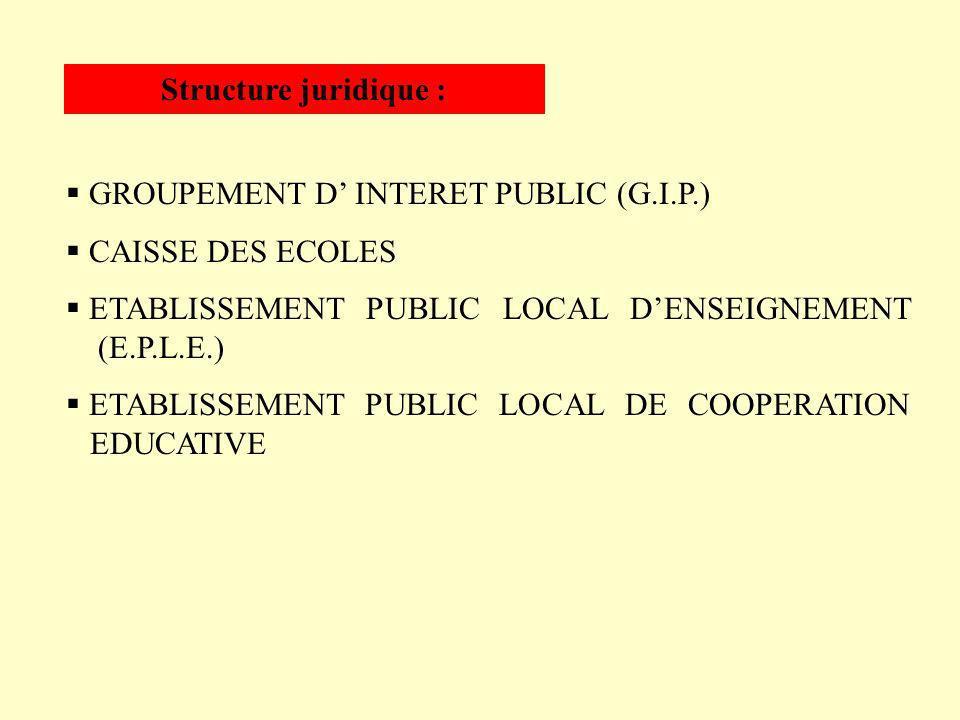 Structure juridique :GROUPEMENT D' INTERET PUBLIC (G.I.P.) CAISSE DES ECOLES. ETABLISSEMENT PUBLIC LOCAL D'ENSEIGNEMENT (E.P.L.E.)