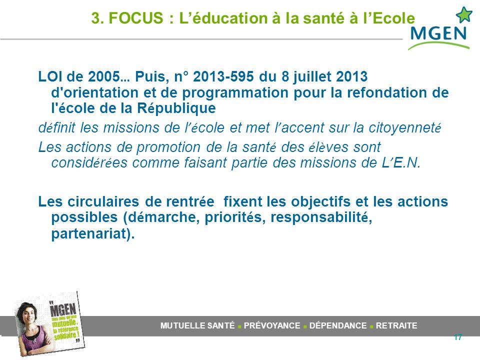 3. FOCUS : L'éducation à la santé à l'Ecole