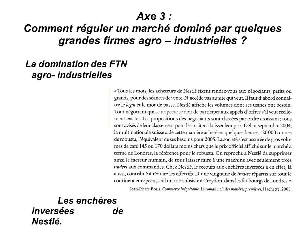 La domination des FTN agro- industrielles