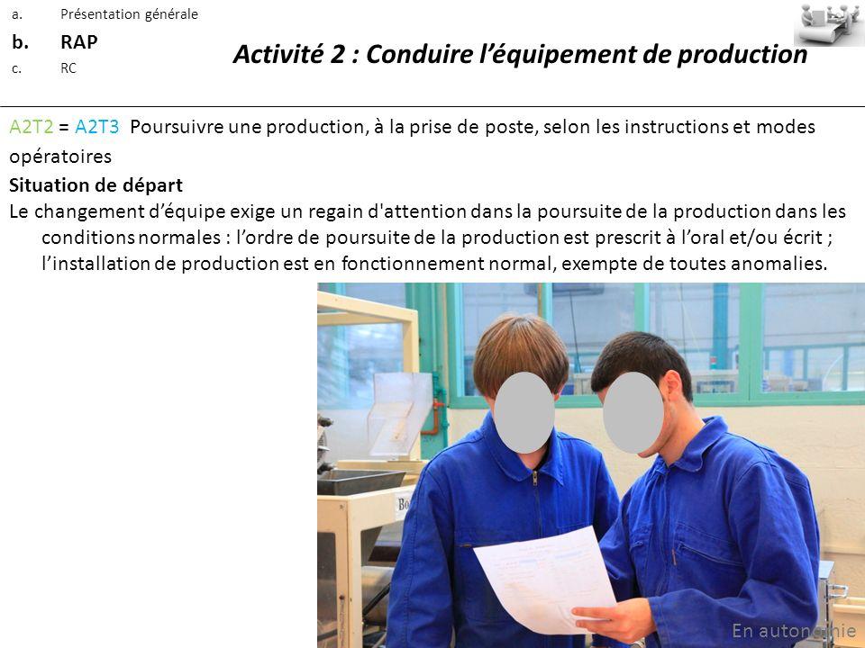 Activité 2 : Conduire l'équipement de production
