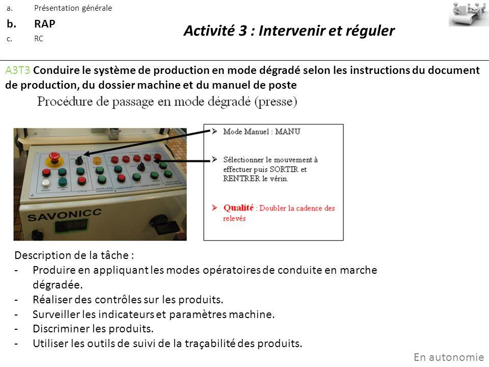 Activité 3 : Intervenir et réguler