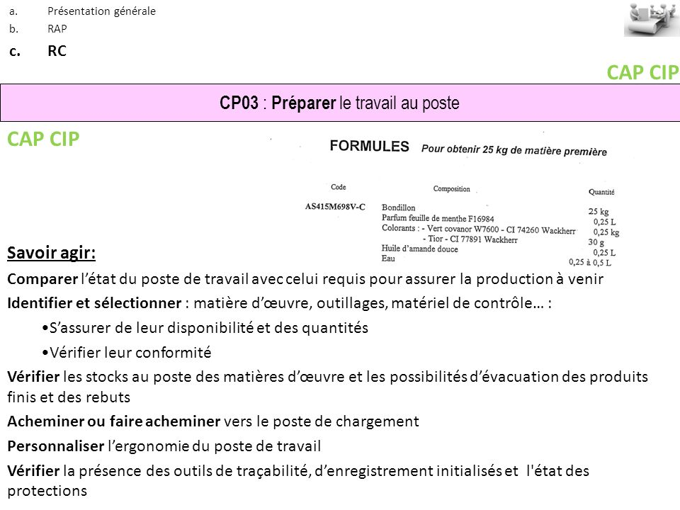 CAP CIP CAP CIP CP03 : Préparer le travail au poste Savoir agir: RC