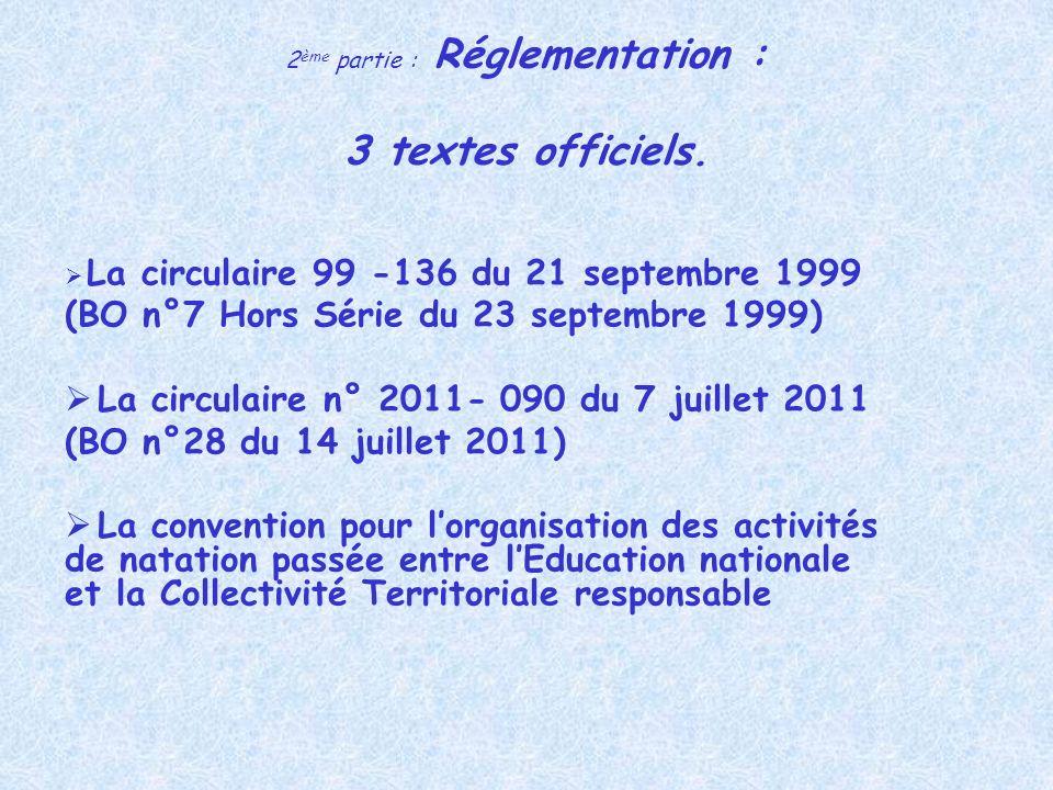 2ème partie : Réglementation : 3 textes officiels.