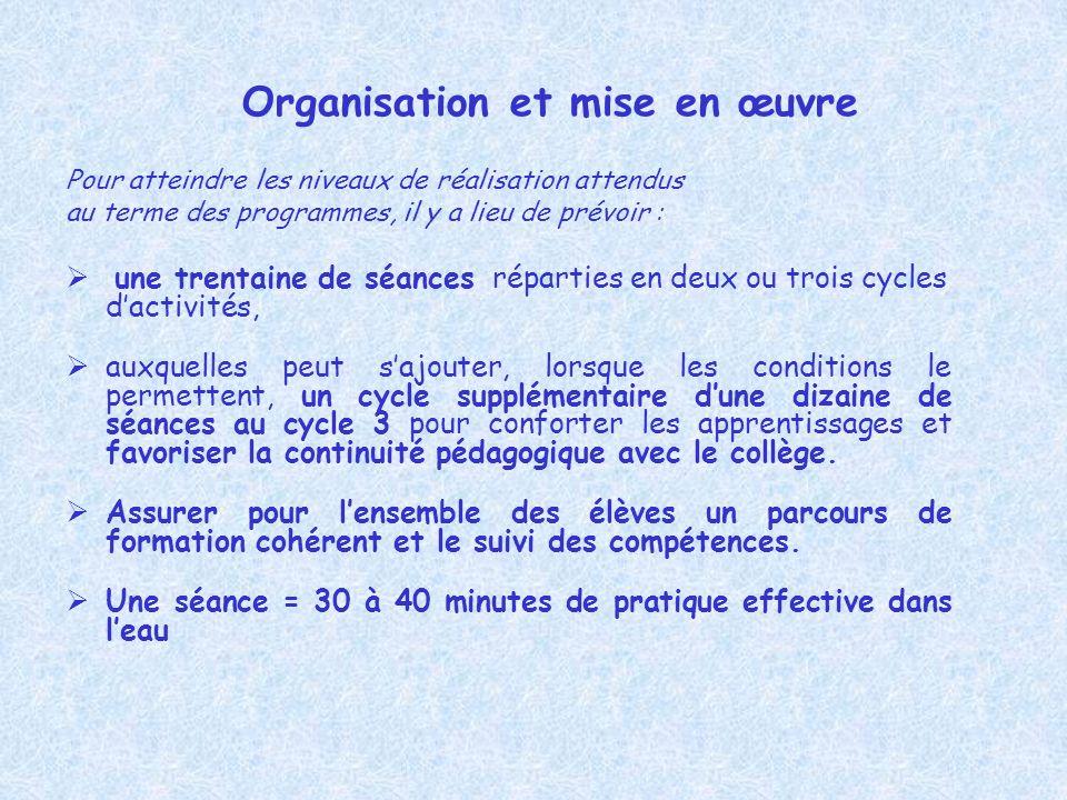 Organisation et mise en œuvre