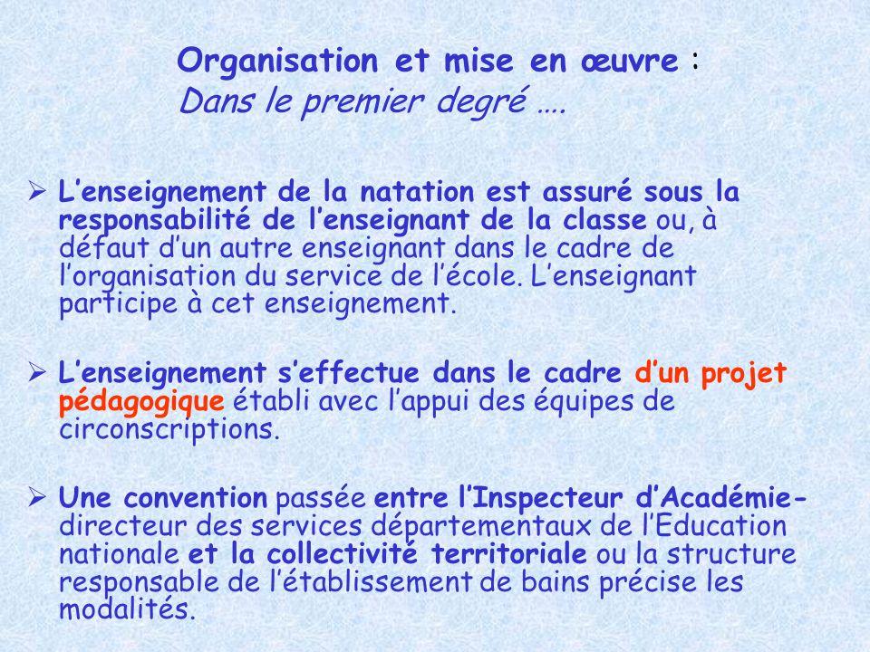 Organisation et mise en œuvre : Dans le premier degré ….