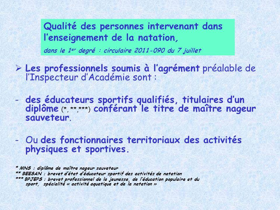 Qualité des personnes intervenant dans l'enseignement de la natation,