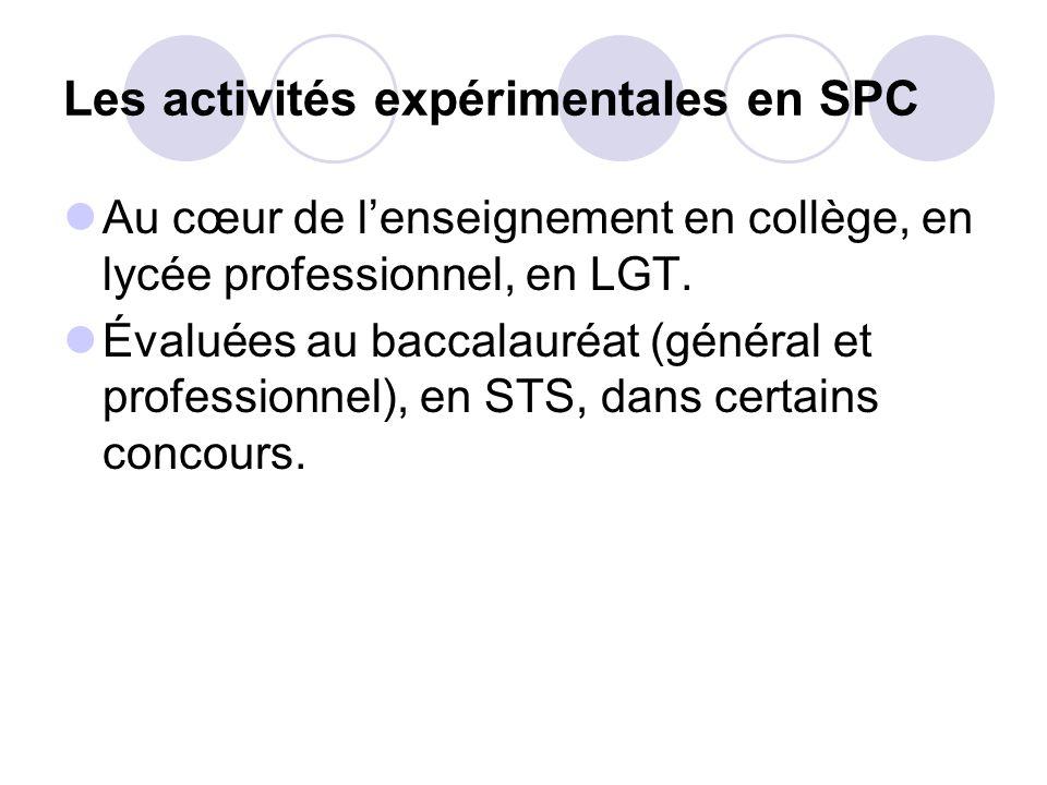 Les activités expérimentales en SPC