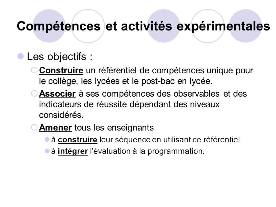 Compétences et activités expérimentales