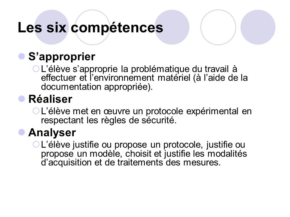 Les six compétences S'approprier Réaliser Analyser