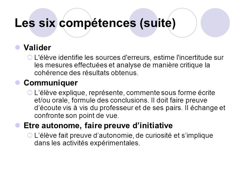 Les six compétences (suite)
