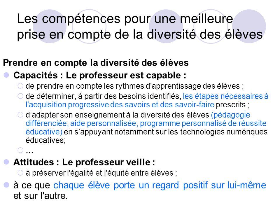 Les compétences pour une meilleure prise en compte de la diversité des élèves
