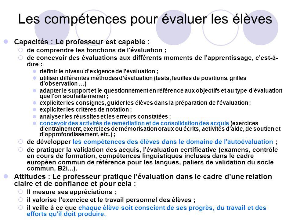 Les compétences pour évaluer les élèves