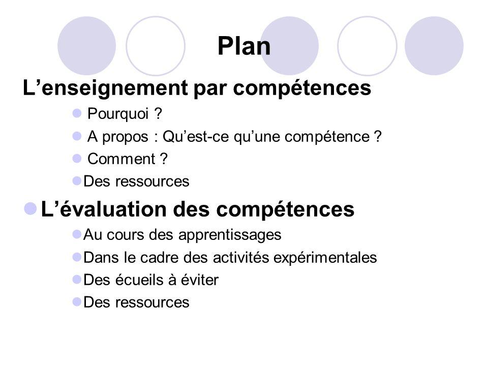 Plan L'enseignement par compétences L'évaluation des compétences