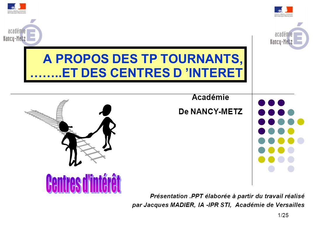 A PROPOS DES TP TOURNANTS, ……..ET DES CENTRES D 'INTERET