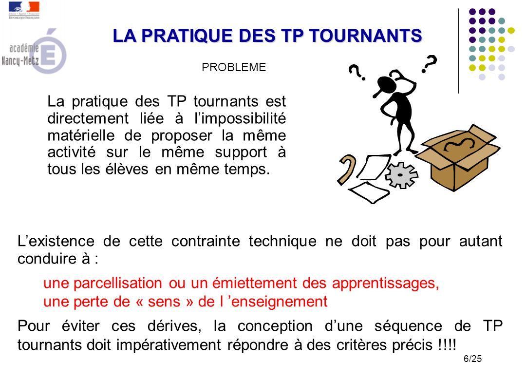 LA PRATIQUE DES TP TOURNANTS