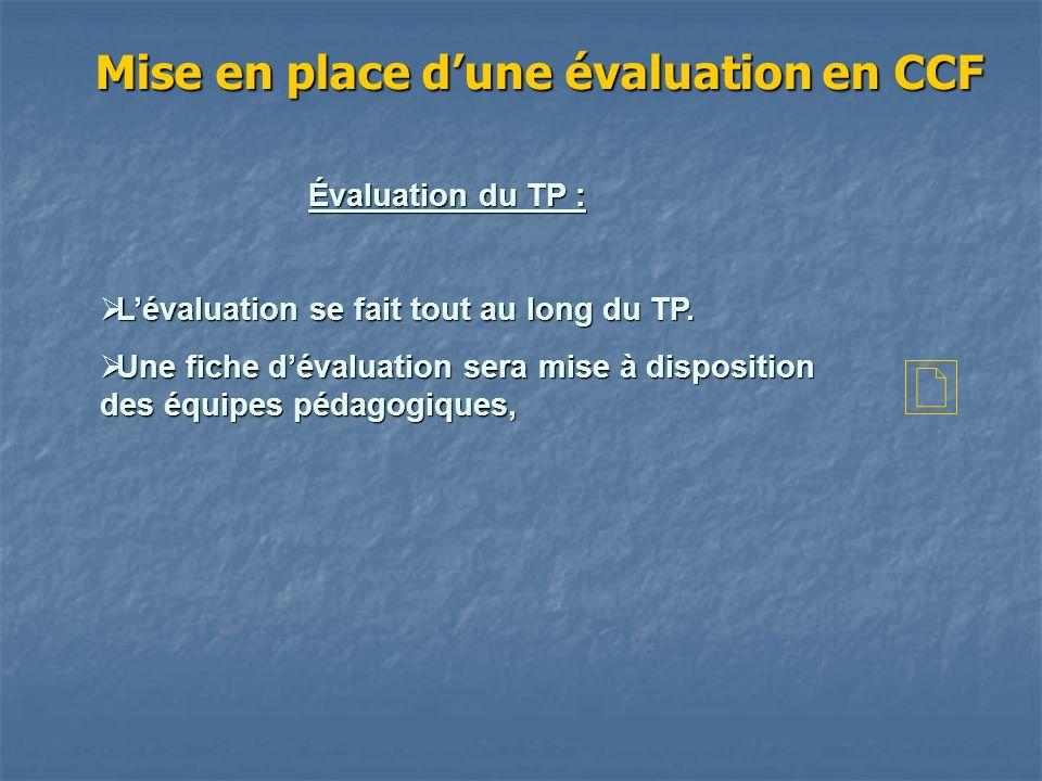 Mise en place d'une évaluation en CCF