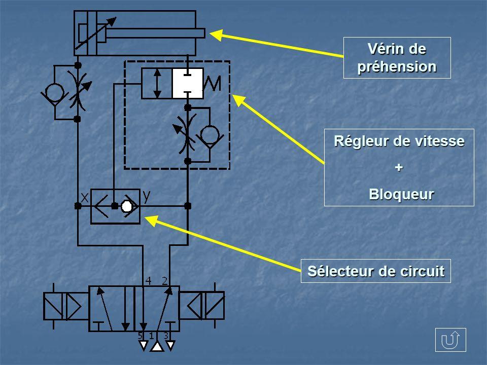 Vérin de préhension Régleur de vitesse + Bloqueur Sélecteur de circuit