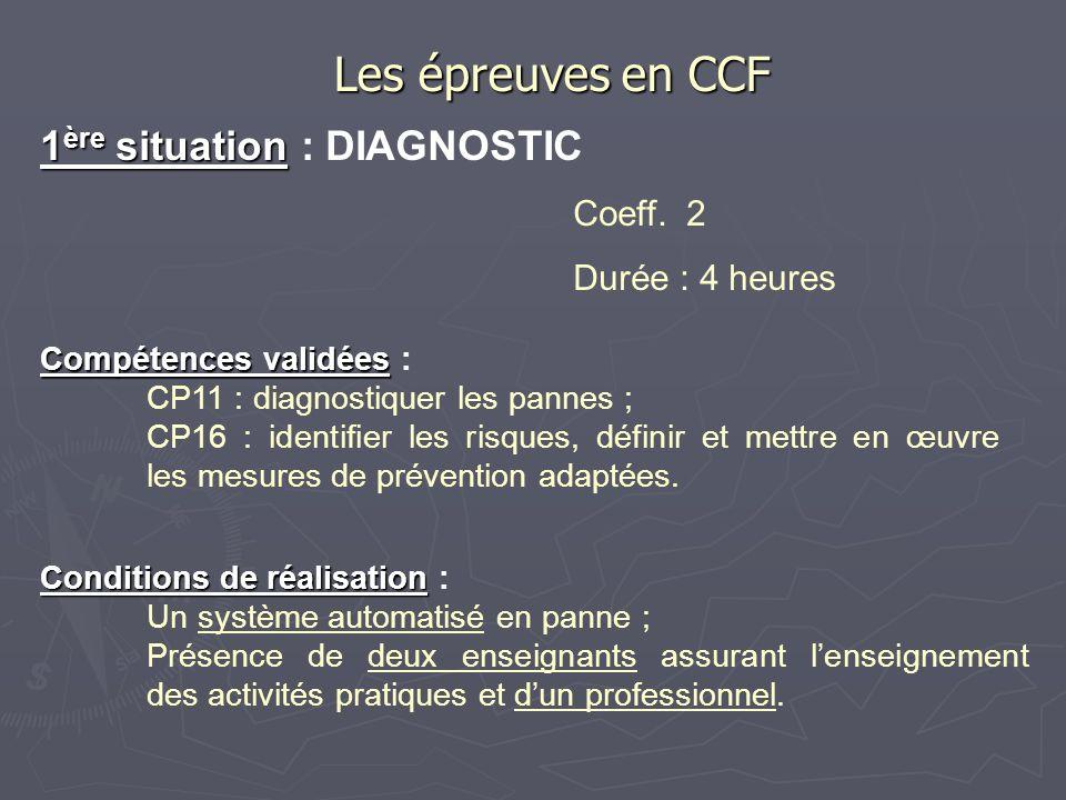 Les épreuves en CCF 1ère situation : DIAGNOSTIC Coeff. 2