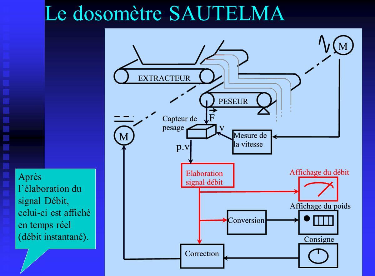 Le dosomètre SAUTELMA Après l'élaboration du signal Débit, celui-ci est affiché en temps réel (débit instantané).