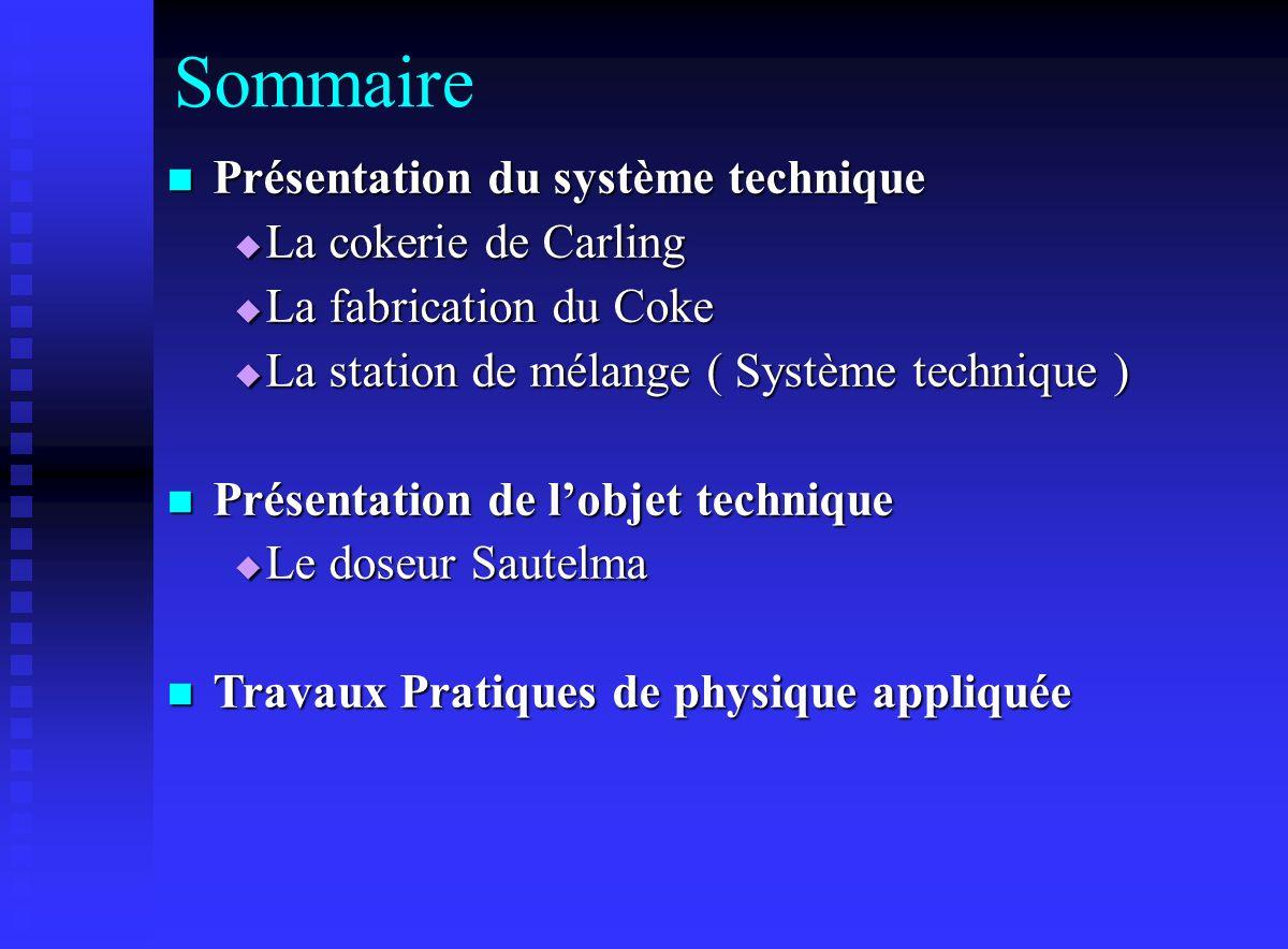Sommaire Présentation du système technique La cokerie de Carling