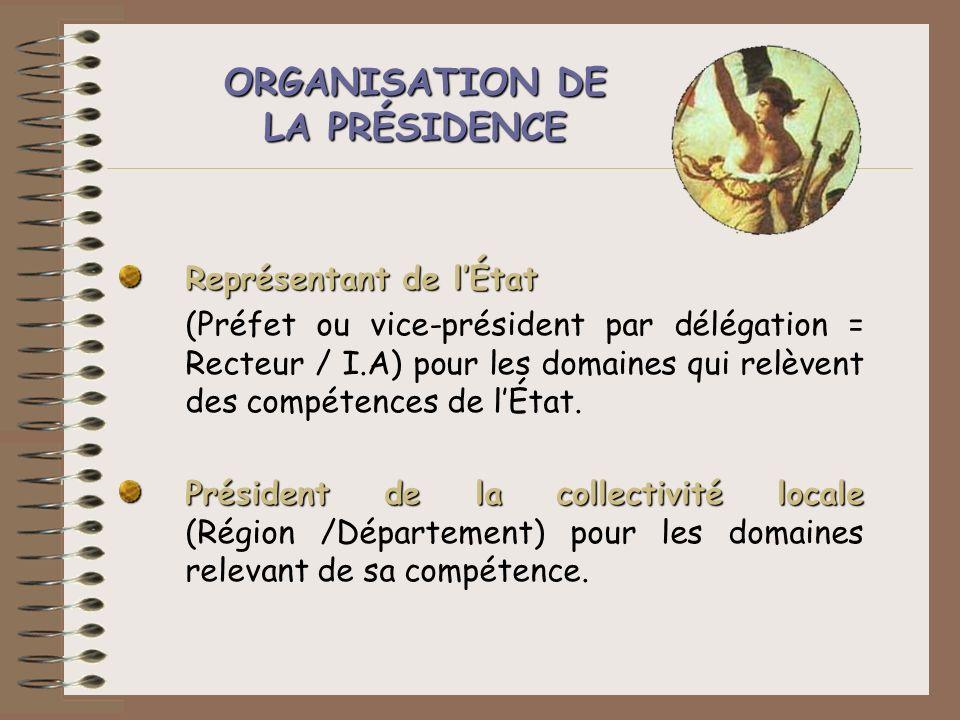 ORGANISATION DE LA PRÉSIDENCE