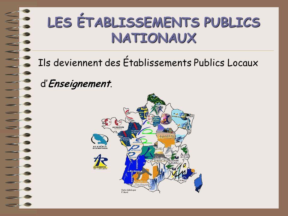 LES ÉTABLISSEMENTS PUBLICS NATIONAUX